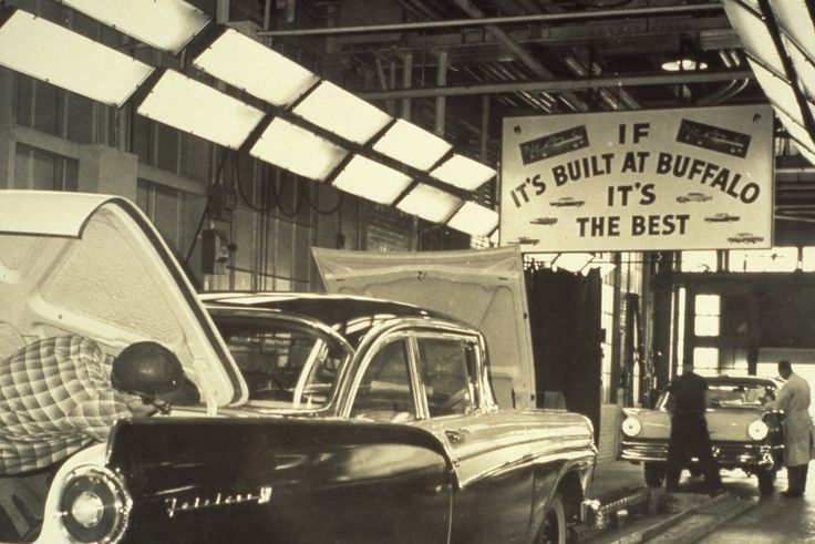 Assembly line workers at the Ford Motor Company plant in Buffalo; they're working on 1957 Ford Fairlane 500s. Ford maintains a plant in metro Buffalo to this day, the Buffalo Stamping Plant. Photo from the New York State Archives.