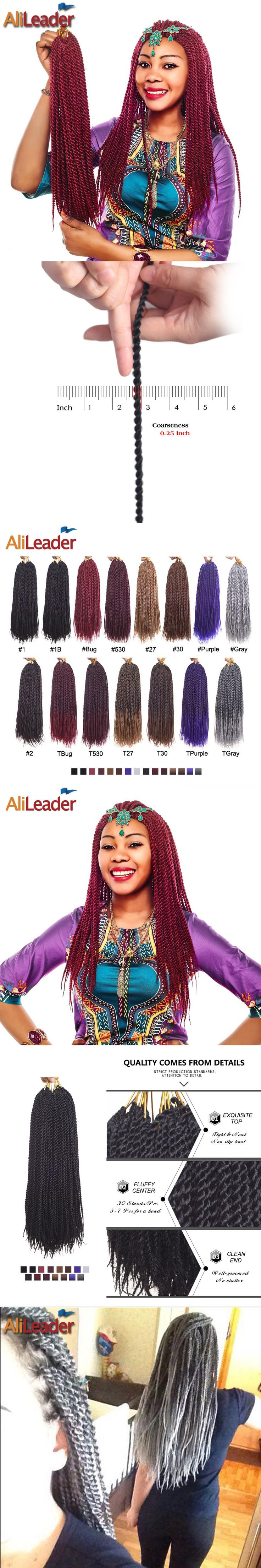 """AliLeader 30 Strands Small Senegalese Twist Crochet Hair Extensions 18"""" 15 Colors African Twist Braids Kanekalon Synthetic Hair"""