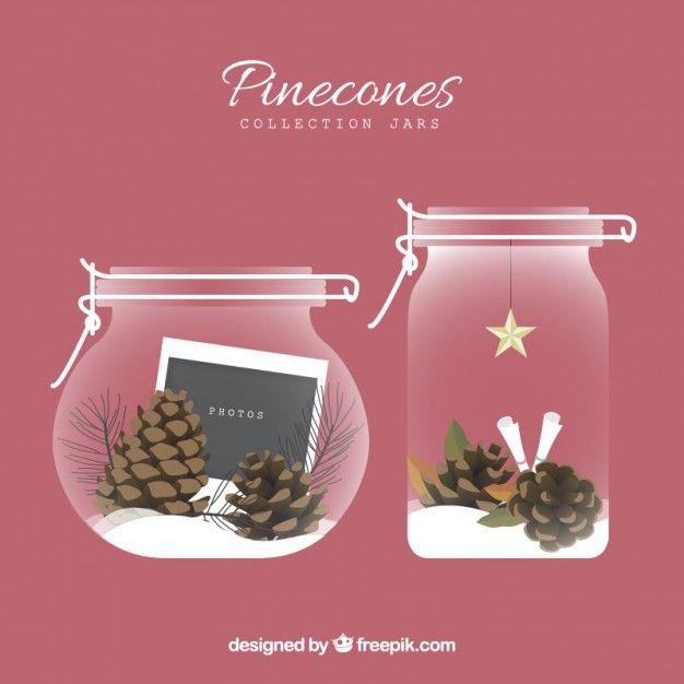 Pinecones Jars Collection Free Vector