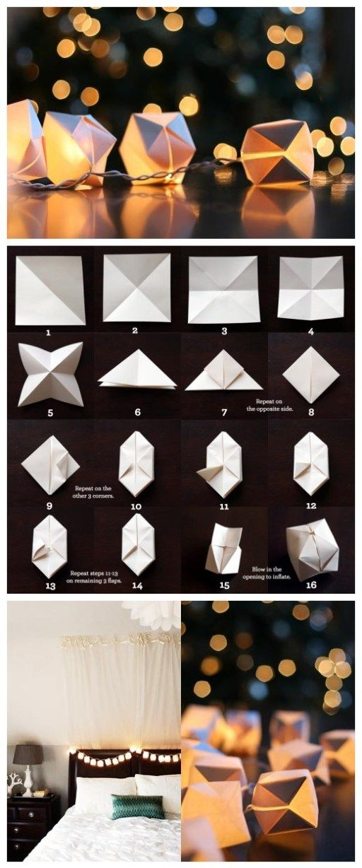 DIY Easy Origami Cubes For String Lights