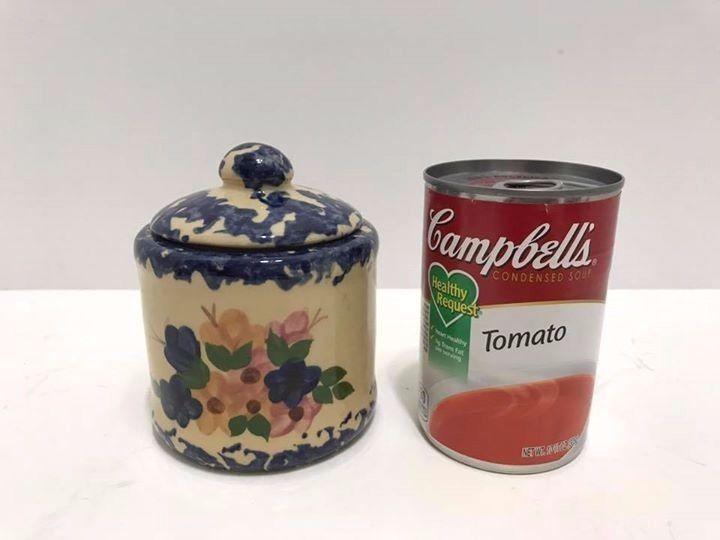Alpine Pottery Roseville OHIO Blue Ceramic Covered Jar Sugar Jam Pot Spongeware #Alpine #Spatterware