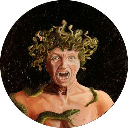 Barbara Gatti Cocci - Titolo - Autoritratto (un diavolio per capello) - olio su tavola - diametro cm 64 - anno 2010
