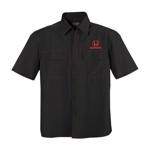 Men's Honda Dealer Shirt. Full button 100% recycled polyester. Honda logo embroidered on left chest.