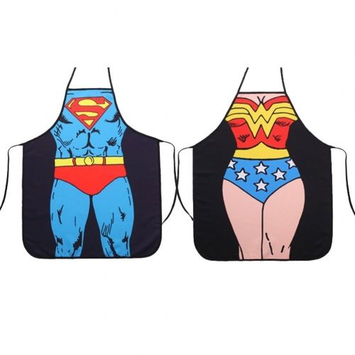 Taobao Building Superman + Wonder Woman Anime Cartoon Hero Character Series Modern Family 2pcs Apron Couple Kitchen Aprons