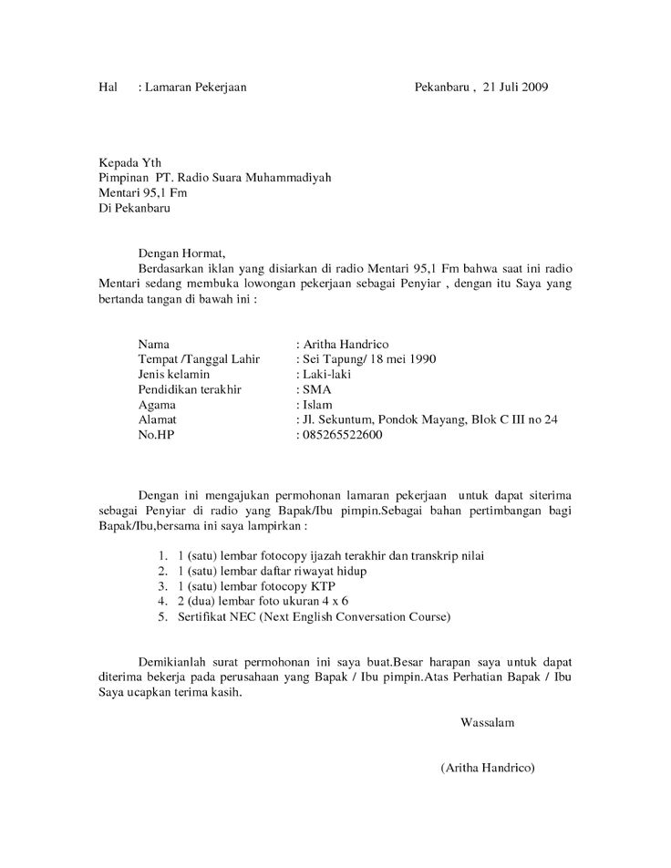 Contoh Surat Lamaran Kerja Sebagai Penyiar Radio  Contoh Lamaran Kerja dan CV  Pinterest  Radios