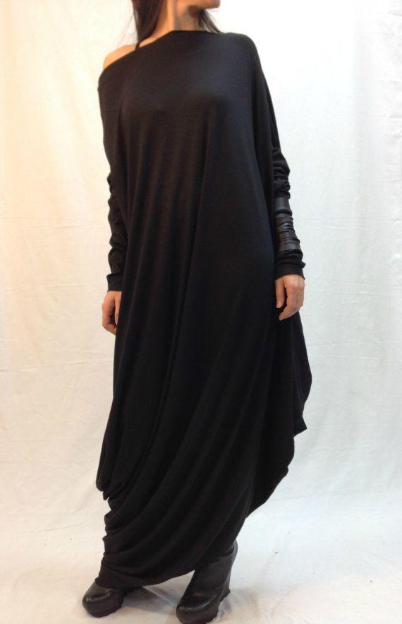 9a775c8e2f1f Black Asymmetrical Maxi Tunic Dress Loose Long Sleeve Kaftan women Fashion Plus  Size Maternity Dress on Etsy