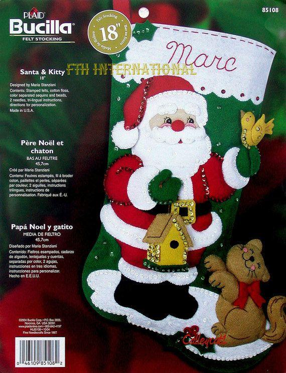 Bucilla Santa & Kitty 18 Felt Christmas Stocking Kit