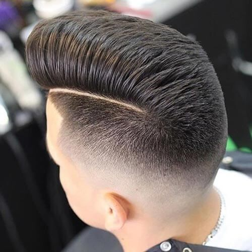 Layered Pompadour with Quiff and Taper Fade - Pompadour Fade Haircut