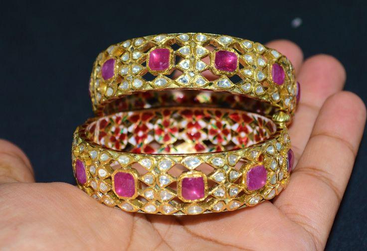 Vintage Moghul Esmalte 22K 18K Solid Gold Rubí Diamante Brazalete con Kada  | eBay