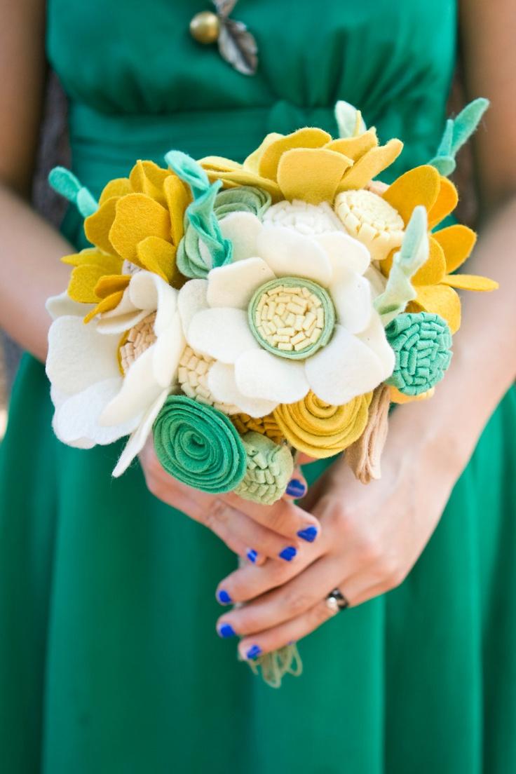 Custom Wildflower Felt Wedding Bouquet - Bridal - Alternative to fresh flowers - Yellow and Green Bouquet -.  via Etsy.