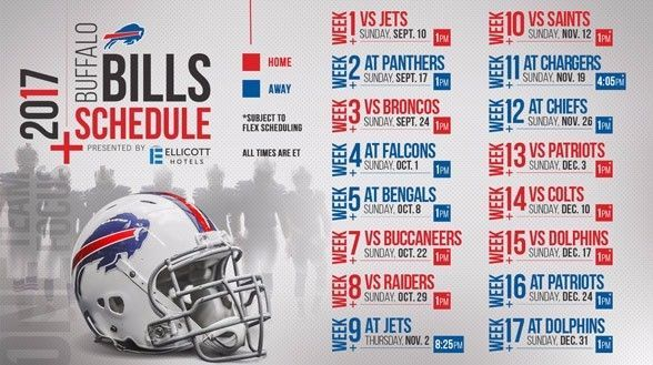 2017-18 BUFFALO BILLS NFL PRO FOOTBALL SCHEDULE SEASON FRIDGE MAGNET (LARGE 4X5)