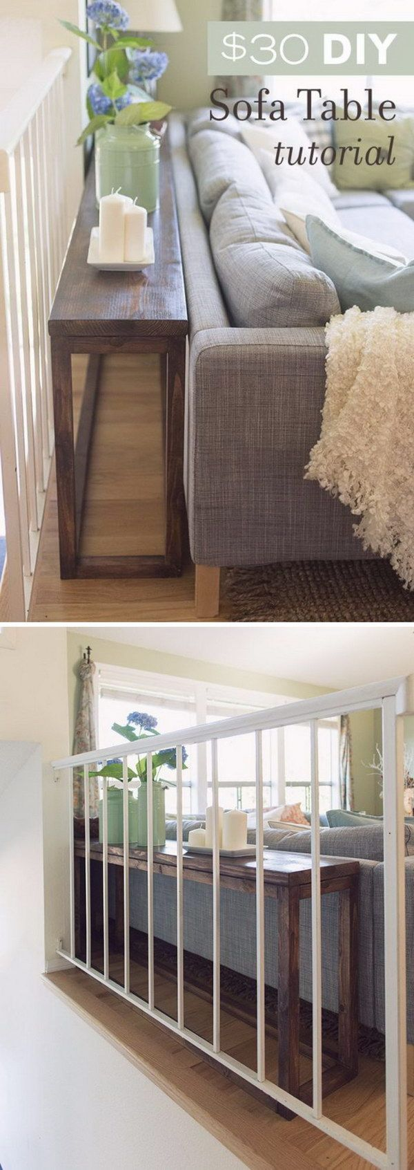 Sofa table tutorial and great ways to use the space behind the couch. #homedecor #organization