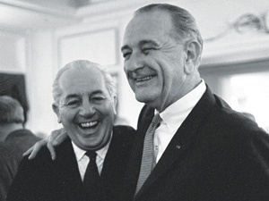 Australian Prime Minister, Harold Holt, and US President, Lyndon B. Johnson, at the White House in October 1966.
