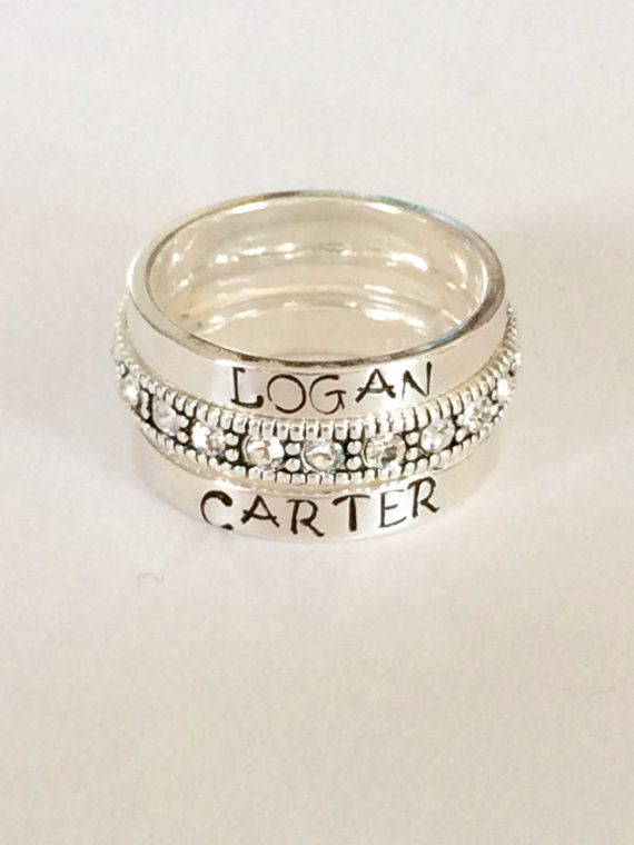 Custom name stacking ring.    This listing is for ONE hand stamped ring. ( or how many you pick in then drop down menu)    These are great for gifts or