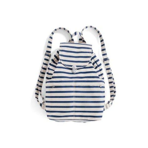 Baggu Sailor Stripe Front Pocket Backpack ($60) ❤ liked on Polyvore featuring bags, backpacks, lightweight laptop bag, backpack laptop bag, lightweight daypack, lightweight laptop backpack and laptop daypack