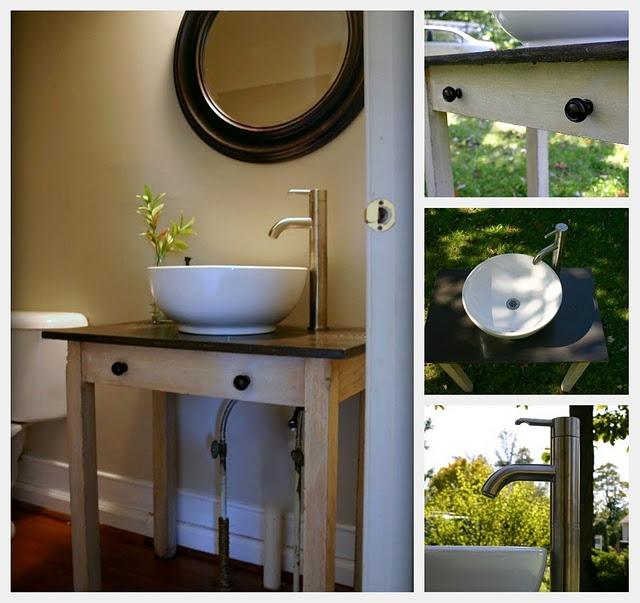 table-turned-vanity: Bathroom Redesign, East Coast Creative, Turning Vanities, Bathroom Vanities, Vanities Bathroom, Antique Tables, Tables Turning, Bathroom Sinks, Antiques Tables