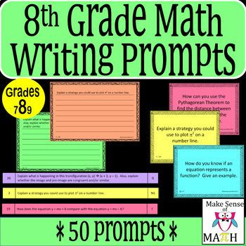 Writing in the math classroom is extremely important and aids to deep understanding and assessment of mathematics. These 50 8th grade math writing prompts are perfect to help your students explain their understanding of math concepts. These questions go beyond basic fluency of math concepts.
