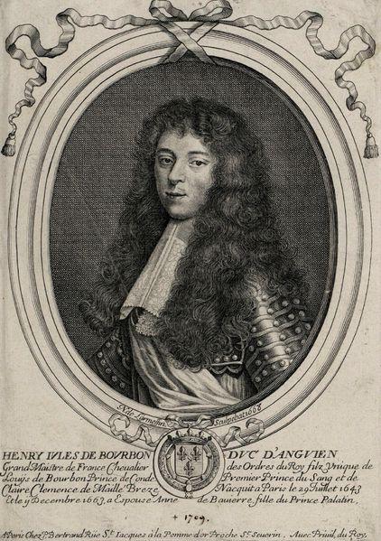 Henri Jules de Bourbon as Duke of Enghien in 1668 by Larmessin.В 1663,11 дек.,в Париже он женился на Анне Баварской,принцессе Пфальцской (1648-1723),в эт.браке род.10 дет. Зрелого возр.достигли пятеро,в т.ч.Людовик III (1668-1710),6 принц Конде с 1709;6 герц.Энгиенский с 1686-1709,Мария Тереза (1666-1732),с 1688 замужем за Франсуа Луи де Бурбон-Конти;