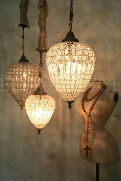 Reproduction Parisian teardrop chandelier.