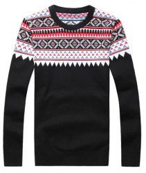 $17.37 Slimming Round Neck Trendy Ethnic Pattern Long Sleeve Polyester Sweater For Men