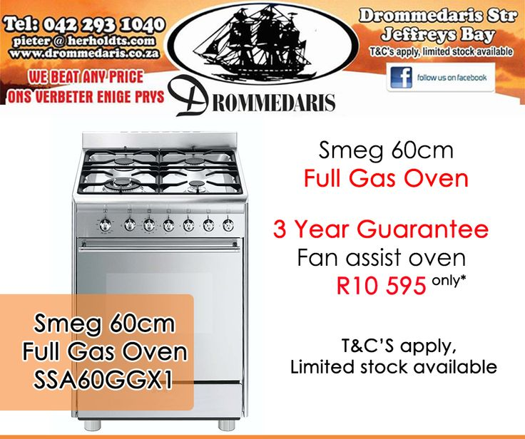 Get down to #Drommedaris for unbelievable deals on gas stoves, like the #Smeg 60cm Full Gas Oven for only R10 595! Offer valid while stocks last, E&OE. Click on the link to view all our specials: http://apost.link/32q. #specials #loadshedding #gasstoves