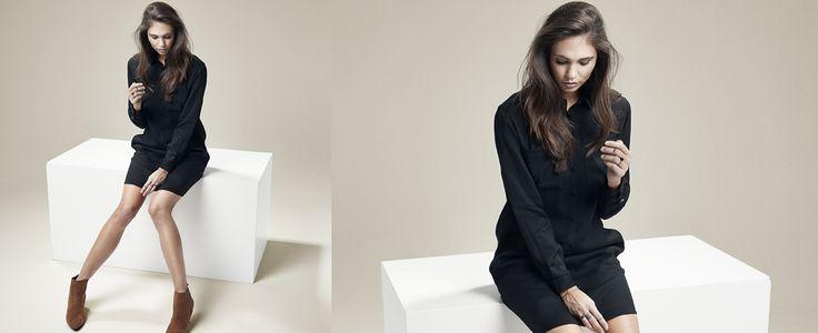 Black shirtdress. Black Swan Fashion