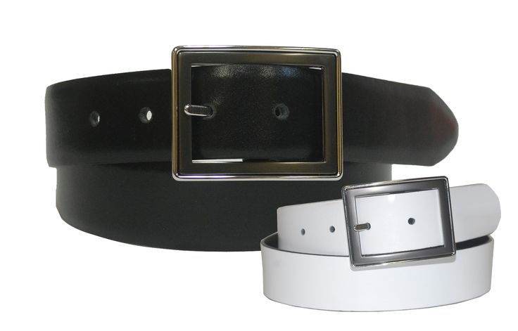 Reversible Feather Edge Leather Strap Belt with Two Tone Center Bar Buckle - $55.00