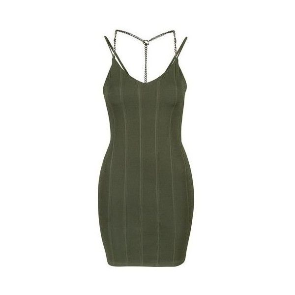 TopShop Petite Chain Strap Bandage Dress ($55) ❤ liked on Polyvore featuring dresses, khaki, backless cocktail dress, backless mini dress, high neck dress, bodycon mini dress and green mini dress