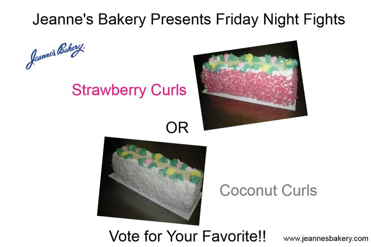 Friday Night Fights!!!  Strawberry Curls vs. Coconut Curls  You Pick the Winner!   http://wu.to/rQdtVf    #cakes    #bakery   #Winnipeg bakeries