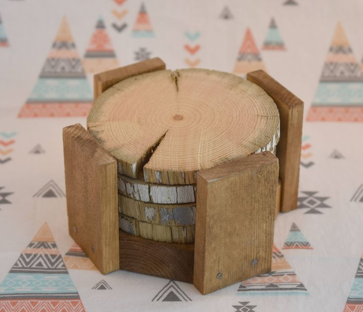 Natural Rustic Wooden Coasters (set of four) with Holder by RaggedyRenaAnn on Etsy https://www.etsy.com/ca/listing/477144655/natural-rustic-wooden-coasters-set-of