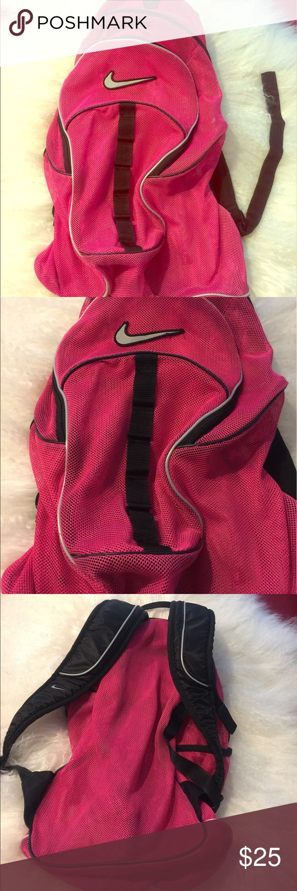 Nike mesh backpack pink and black large size Generously sized Nike backpack , great mesh design. Pink and black color. Shows some wear Nike Bags Backpacks