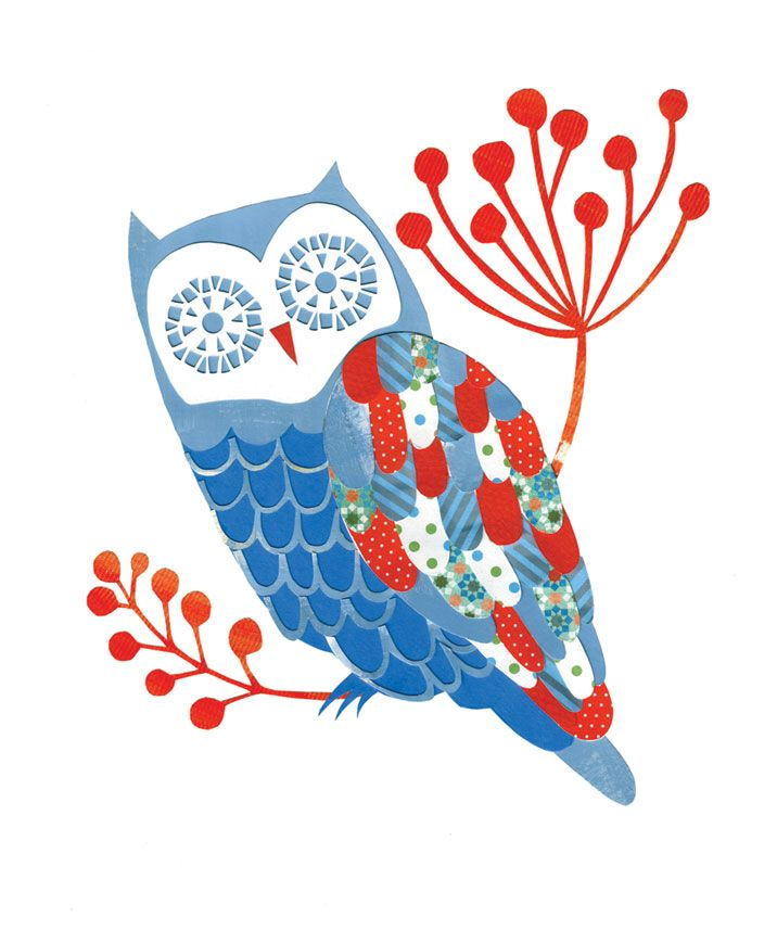 Andrea Smith. Owl patchwork illustration