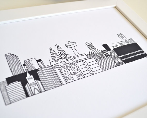 Liverpool Skyline Print by Becka Griffin. I'd love this in my house, particularly as the city has special significance for me for a number of reasons.