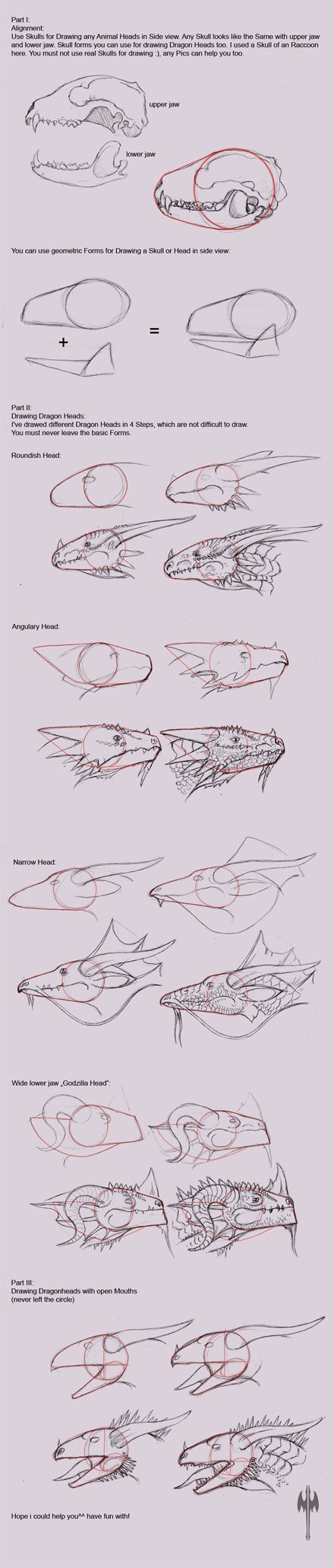 How to draw a dragon head