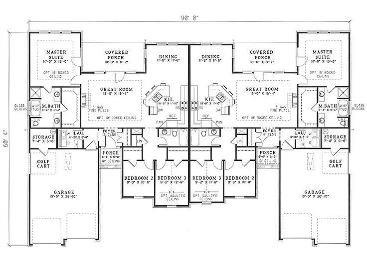 181 best multi family plans images on pinterest duplex for Unique duplex plans