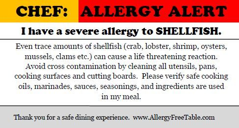 Chef Card - Shellfish Allergy