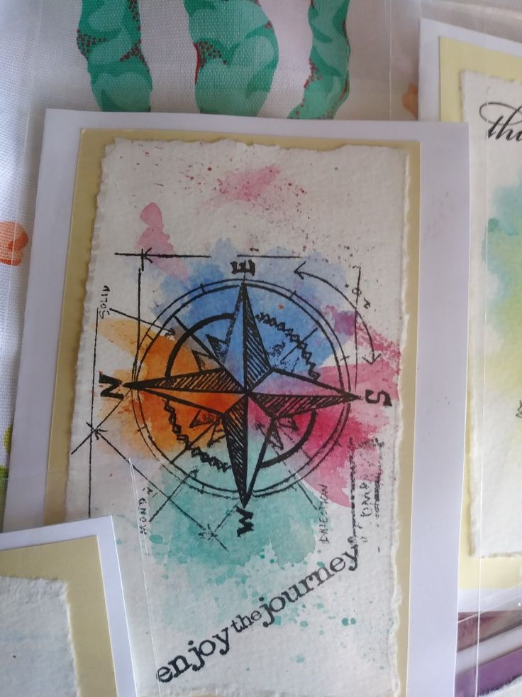 Stamp over watercolor for a quick trendy handmade card