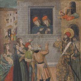 San Sebastián habla a Marcos y a Marceliano y san Sebastián y san Policarpo destruyendo los ídolos