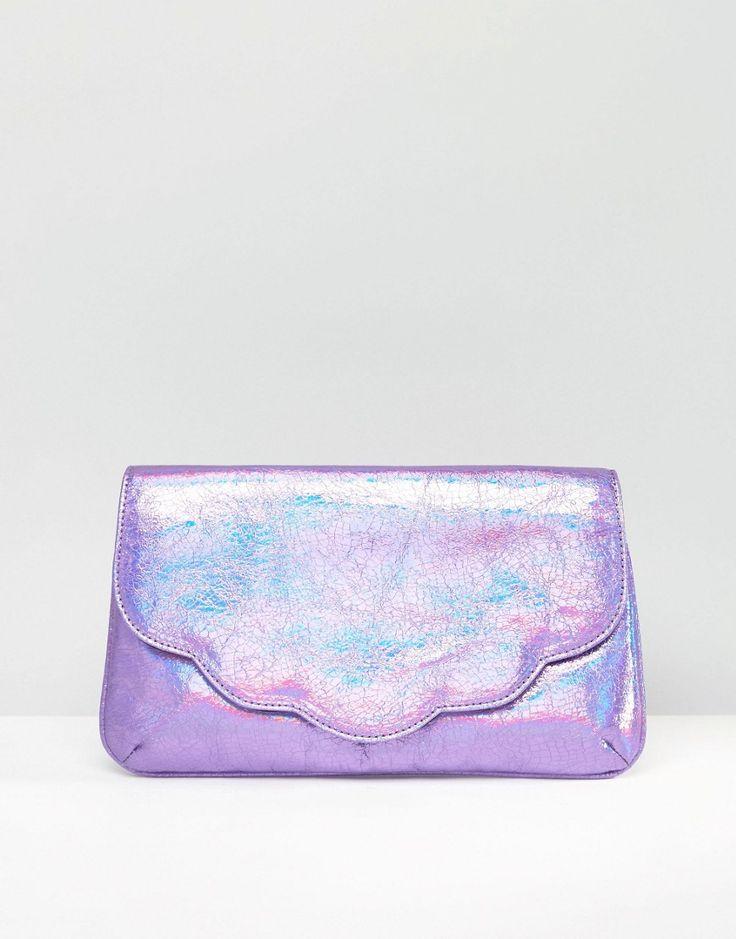 Image 1 ofASOS Metallic Scallop Clutch Bag