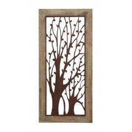 Metal Tree Wall Art Wood Frame