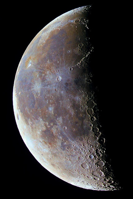 Color-enhanced mosaic (3x2) of the Moon. Color hue are as natural, as possible, but saturation dramatically increased.