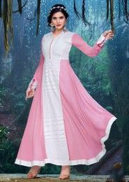 Party Wear Georgette Pink Embroidered Work Anarkali Suit