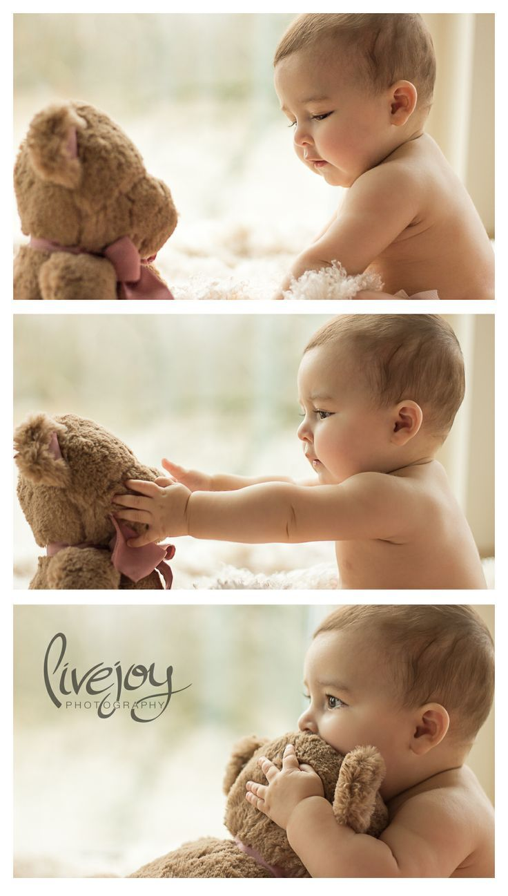 6 Month Photography, Baby Photo Shoot / Baby Photography with Teddy Bear / LiveJoy Photography / Salem, Oregon #LiveJoyPhotography