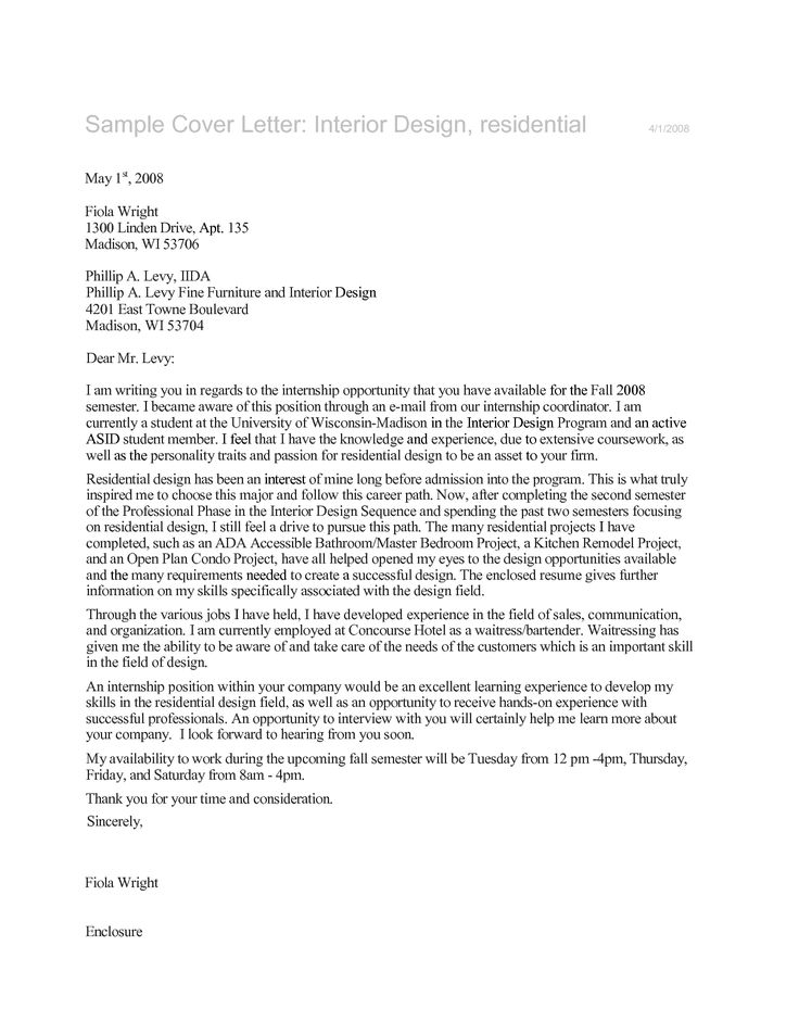 Best 25+ Interior design internships ideas on Pinterest Interior - sample internship cover letter