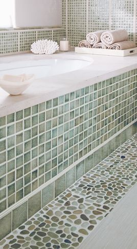 Mix up basic tile work with contrasting textures in the same color family #bathroom tiles, shower, vanity, mirror, faucets, sanitaryware, #interiordesign, mosaics,  modern, jacuzzi, bathtub, tempered glass, washbasins, shower panels #decorating