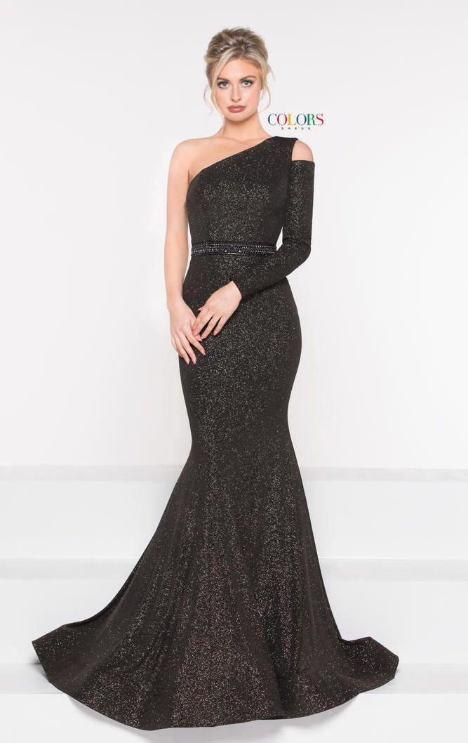 8e853d08221 Style 1990 from Colors Dress is a one shoulder glitter jersey mermaid gown  with one cold shoulder long sleeve.