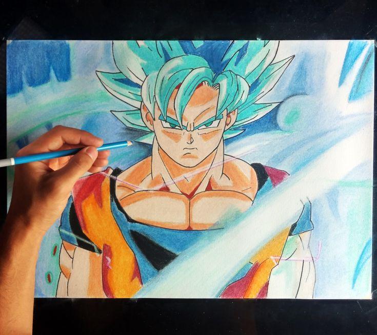Cómo dibujar a Goku SSJ en Fase DIOS azul |  How to draw goku God (Engli...