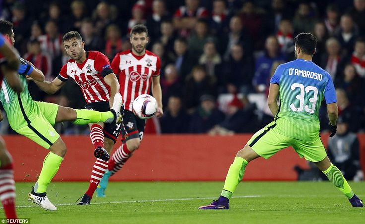 Southampton forward Jay Rodriguez, who has been plagued by injuries at St Mary's, attempts a shot at target