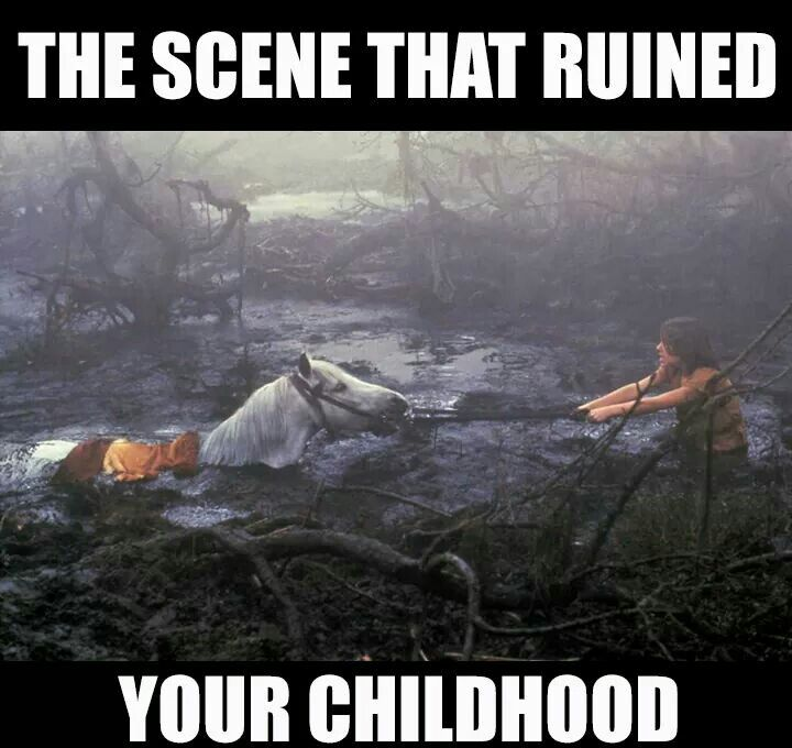 SOOOO TRUUUUUUUE - Atreyu's horse Artax just gives up and sinks to the bottom of the Swamps of Deadly Sadness - Never Ending Story