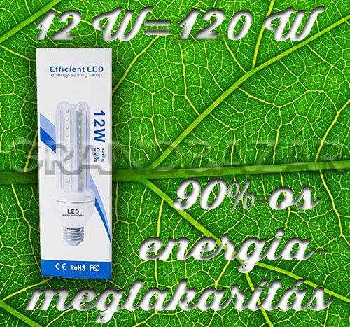 1290 Ft. - Energiatakarékos led fénycső, hidegfehér - 12w=~120w / normál e27 foglalatba - Grandbazár